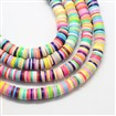 Flat Round Handmade Polymer Clay Bead Spacers, Mixed Color, 6mm in diameter, 1mm thick, hole: 2mm, approx 380~400 beads / strand, 17.7