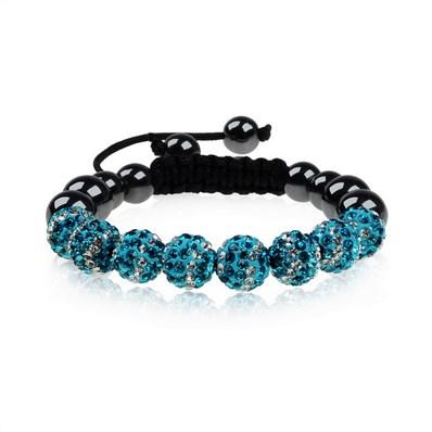Rhinestone Bracelets, with Hematite Beads, SkyBlue, 53mm inner diamete