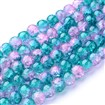 Crackle Glass Beads Strand, Inner Blossom, Round, DarkCyan, 10mm