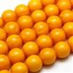 Buddhist Jewelry Beaded Findings Resin Imitation Beeswax Round Bead Strands, Orange, 6mm in diameter, hole: 1mm