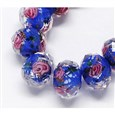 Handmade Lampwork Beads Strands, with Inner Flower, Faceted Abacus, 8x6mm(LAMP-S001-8MM-06)