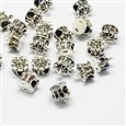 Alloy Rhinestone European Beads, Crown Large Hole Beads, Antique Silver, Mixed Color, 11mm in diameter, 11.5mm high, hole: 4.5mm(MPDL-R036-06)