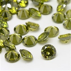 Cubic Zirconia Cabochons, Grade A, Faceted, Diamond, Olive, 8mm in diameter, 4.6mm thick