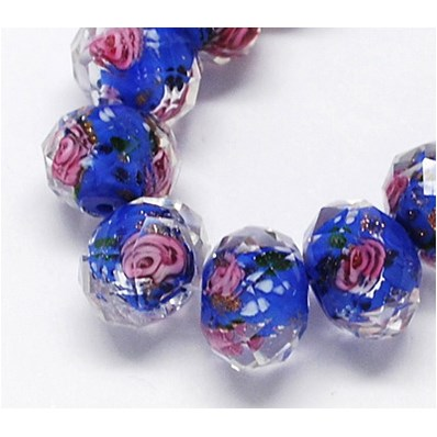 Handmade Lampwork Beads Strands, with Inner Flower, Faceted Abacus, 10