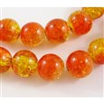 Orangered/yellow round crackle glass beads strand, 12mm in diameter, hole: 2mm(GGC12mm016)