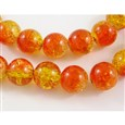 Crackle Glass Beads Strands, Inner Blossom, Round, Orange/Yellow, 8mm(GGC8MM016)