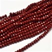 Faceted Abacus Glass Beads Strands, DarkRed, 4x3mm, Hole: 1mm; about 149pcs/strand, 18.9