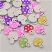 Mushroom Dyed 2-Hole Printed Wooden Buttons, Mixed Color, 18mm wide, 22mm long, 12.5mm thick, hole: 1mm