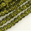 Crackle Glass Beads Strands, Round, Dyed, OliveGreen, 8mm in diameter, hole: 1mm