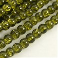 Crackle Glass Beads Strands, Round, Dyed, OliveGreen, 8mm in diameter, hole: 1mm(GGC8mmY-A36)