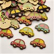 Car Dyed 2-Hole Printed Wooden Buttons, Mixed Color, 25mm wide, 16mm long, 2.5mm thick, hole: 1mm