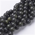 Gemstone Beads Strands, Green Lace Stone, Round, OliveDrab, 10mm in diameter, hole: 1mm(GSR10mmC146)