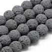 Natural Lava Beads Strands, Dyed, Round, Gray, 8~9mm, Hole: 1mm; about 48pcs/strand, 15.1