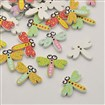 Dragonfly 2-Hole Dyed Printed Wooden Buttons, Mixed Color, 24.5mm wide, 19.5mm long, 2.5mm thick, hole: 1mm