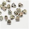 Alloy Rhinestone European Beads, Bag Large Hole Beads, Antique Silver, Mixed Color, 13mm long, 11mm wide, 9mm thick, hole: 5mm(MPDL-R036-07)