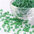 Glass Seed Beads, Trans. Colours Lustered, Round, Green, 4mm in diameter, hole: 1.5mm(SEED-A006-4MM-107)