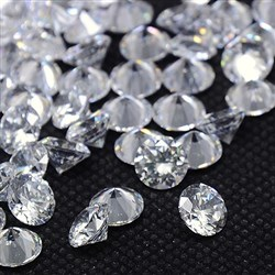 Cubic Zirconia Cabochons, Grade A, Faceted, Diamond, Clear, 8mm in diameter, 4.6mm thick