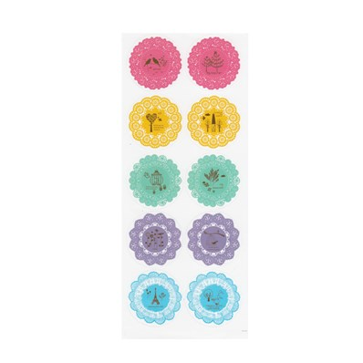 Flower Pattern DIY PVC Picture Stickers, Colorful, 42mm in diamete