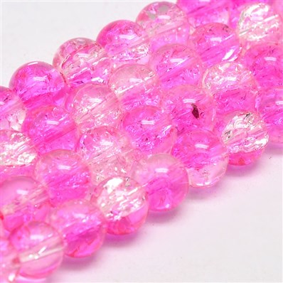 Two Tone Crackle Glass Round Bead Strands, Grade AA, Magenta, 8mm in d