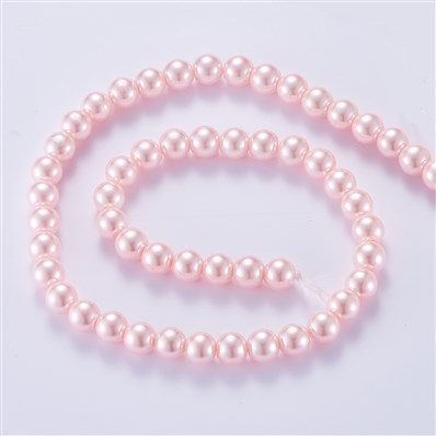 Pearlized Glass Pearl Round Beads, Dyed, Pink, 10mm, Hole: 1mm; about