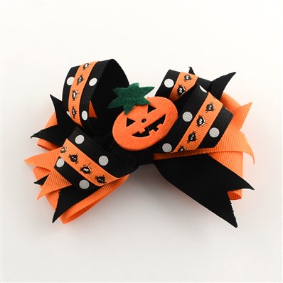 Halloween Grosgrain Bowknot Alligator Hair Clips, with Iron Clips and