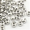 Platinum Color Ringent Round Brass Crimp Beads Covers, Nickel Free, about 4mm in diameter, 3mm thick, hole: 1.5mm