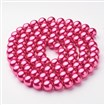 Glass Pearl Beads Strands, Pearlized, Round, PaleVioletRed, 10mm in diameter