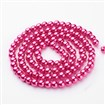 Glass Pearl Beads Strand, Pearlized, Round, PaleVioletRed, 8mm, Hole: 1mm