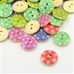 Printed Wooden Buttons, 2-Hole, Flat Round, Mixed Color, 15x4mm, Hole: 2mm