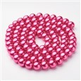 Glass Pearl Beads Strands, Pearlized, Round, PaleVioletRed, 10mm in diameter(HY-10D-B17)