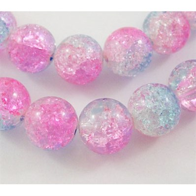 Crackle Glass Beads, Round, Pink/Blue,12mm