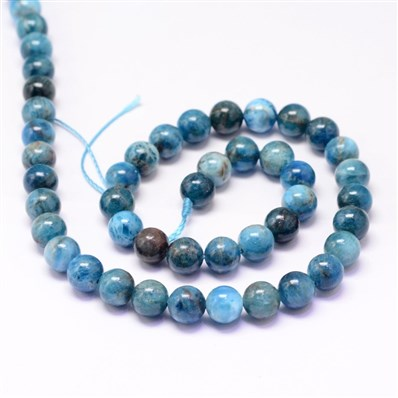 Natural Apatite Beads Strands, Round, 8mm, Hole: 1mm; about 50pcs/stra