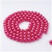 Glass Pearl Beads Strand, Pearlized, Round, DeepPink, 8mm, Hole: 1mm