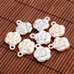 Rose Flower Imitation Pearl Acrylic Pendants, Mixed Color, 17.5mm wide, 22.5mm long, 7.5mm thick, hole: 2mm