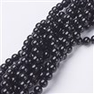 Natural Black Agate Round Beads Strands, Grade A, 6mm in diameter, hole: 0.8mm