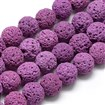 Natural Lava Beads Strands, Dyed, Round, OldRose, 8~9mm, Hole: 1mm; about 48pcs/strand, 15.1