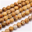 Natural Picture Jasper Beads Strands, Faceted, Round, Peru, 10mm in diameter, hole: 1mm