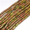 Natural Gemstone Unakite Beads Strands, Column, 8mm wide, 16mm long, hole: 1.5mm