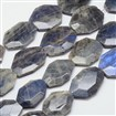 Faceted Nuggets Natural Labradorite Bead Strands, 35~47x25~35x7~8mm, Hole: 1mm; about 9~10pcs/strand, 15.5