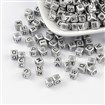 Acrylic Beads, Mixed letters, Mixed Letters, Cube, about 6mm in diameter, hole: 3mm;