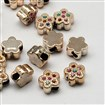 UV Plated Large Hole Acrylic Flower European Beads, with Resin Rhinestones, Golden Metal Color, Mixed Color, 15mmx15mmx9mm, hole: 5mm.