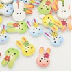 Printed Wooden Buttons, 2-Hole, Rabbit, Dyed, Mixed Color, 16mm wide, 25mm long, 4mm thick, hole: 1mm