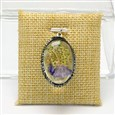 Oval Glass Pendants, with Platinum Plated Brass Rhinestone Findings and Dried Flower inside, Colorful, 36x24x12mm, Hole: 1.8mm(GLAA-I023-08)