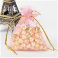 Heart Printed Organza Bags, Gift Bags, Rectangle, Orchid, 9x7cm(K-OP-UK0006-7x9-08)