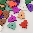 Holiday Buttons, Mixed Color Christmas Tree Dyed 2-Hole Wooden Buttons, 23x22x4mm, Hole: 2mm(K-X-BUTT-N002-08)