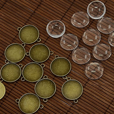 20mm Clear Domed Glass Cabochon Cover for DIY Alloy Photo Connector Ma