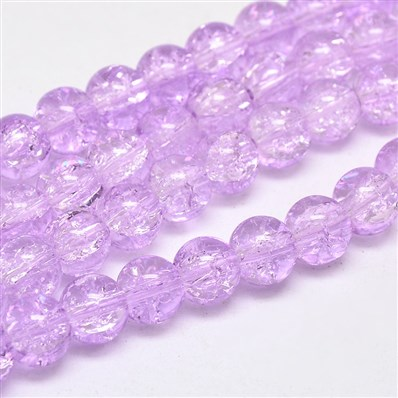 Two Tone Crackle Glass Round Bead Strands, Grade AA, MediumOrchid, 8mm