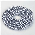 Glass Beads Strands, Pearlized, Round, Dyed, Silver, 6mm in diameter, hole: 1mm(K-HY-6D-B18)