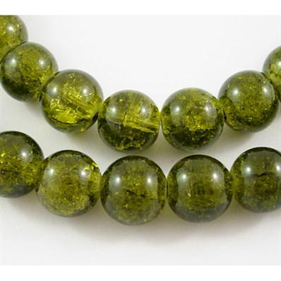 Crackle Glass Strand, Round, Dark Olive, 10mm