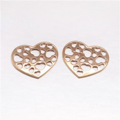 Rack Plating Brass Cabochons, Heart, KC Gold, 23mm wide, 19mm long, 1.